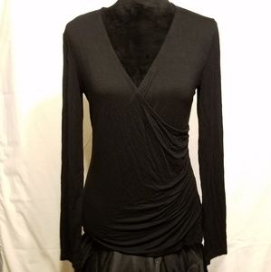 Black Stretchy Dressy Wrap Blouse Pleated Side